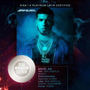 """Anuel AA recibe certificación Disco Platino por """"Real Hasta La Muerte"""""""